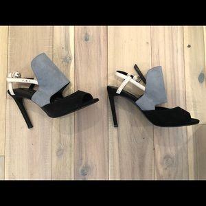Zara blue, white and black stilettos